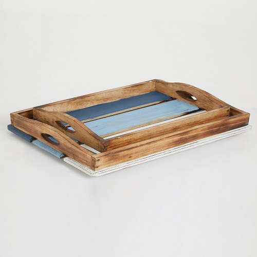 Blue Coastal Tray Set of 2