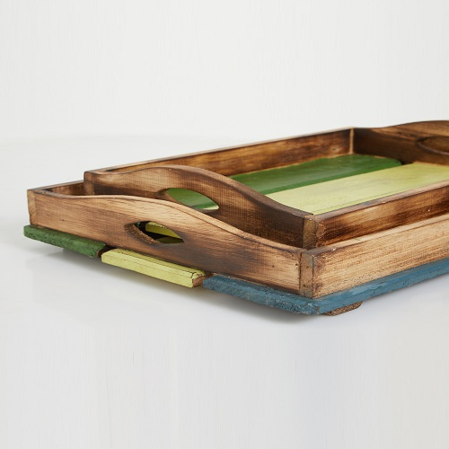 Green Coastal Tray Set of 2