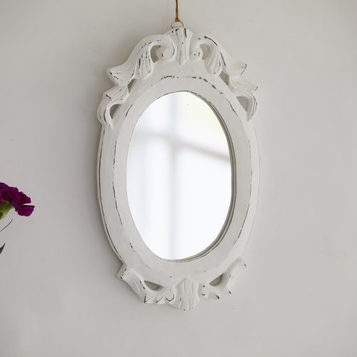 White Vintage Oval Mirror