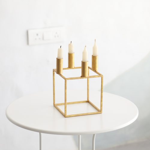 Gold Geo Square Candle Holder
