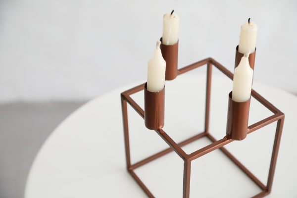 Copper Geo Square Candle Holder