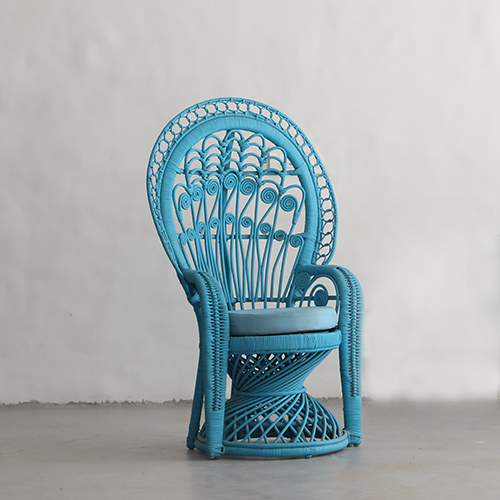 RATTAN PEACOCK CHAIR- TURQUOISE
