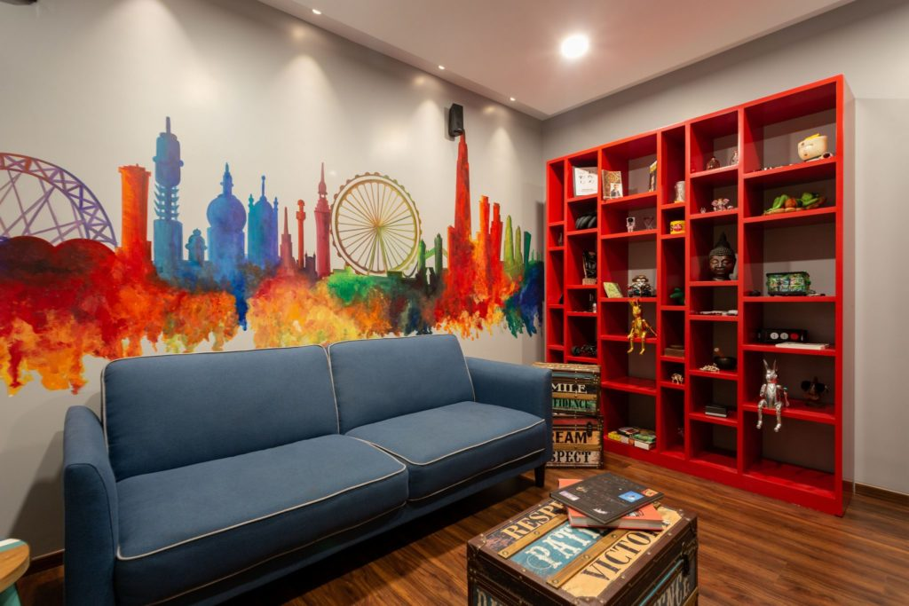 TV Room with Handpainted Wall