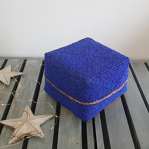 Dark Blue Beaded Box