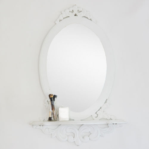 White wall mirror with stand