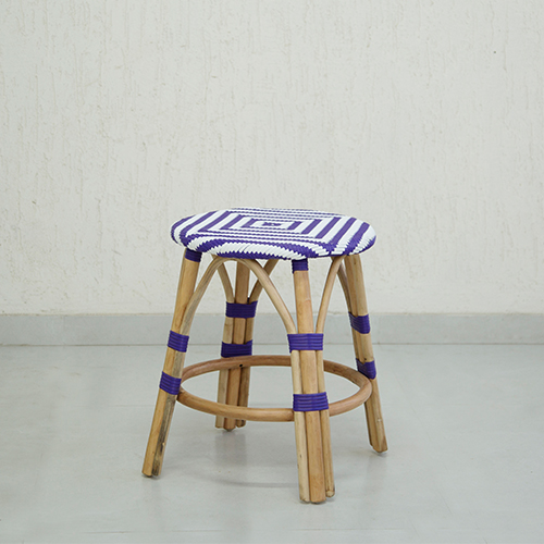 Purple Synthetic Rattan Infinity Stool