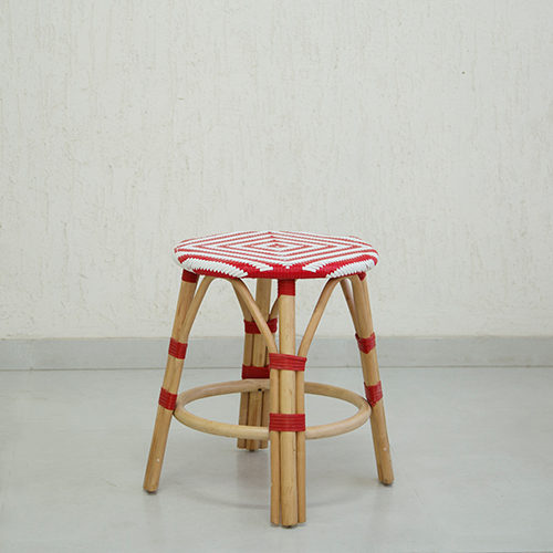 Red Synthetic Rattan Infinity Stool