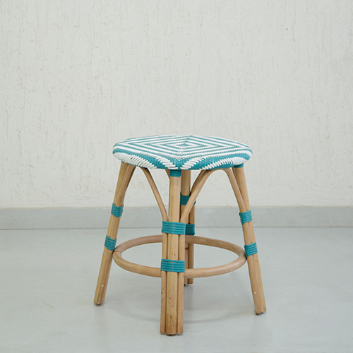 Teal Synthetic Rattan Infinity Stool